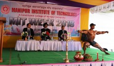 BODY BUILDING SHOW BY THOKCHOM GYANENDRA SINGH, A STUDENT OF  7TH SEMESTER CIVIL ENGG. AT THE VALEDICTORY FUNCTION OF MIT WEEK 2018