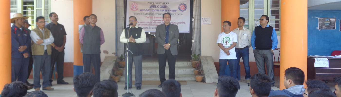 Prof Adya Prasad Pandey, Hon'ble Vice Chancellor, Manipur University  giving speech on One day social service camp under NSS on 10th Nov., 2017